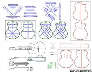 CAD Medium Jumbo Acoustic Guitar Plan
