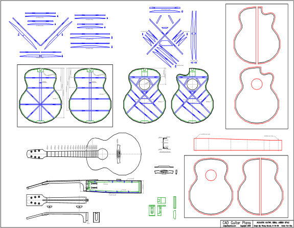 CAD Small Jumbo Acoustic Guitar Plan