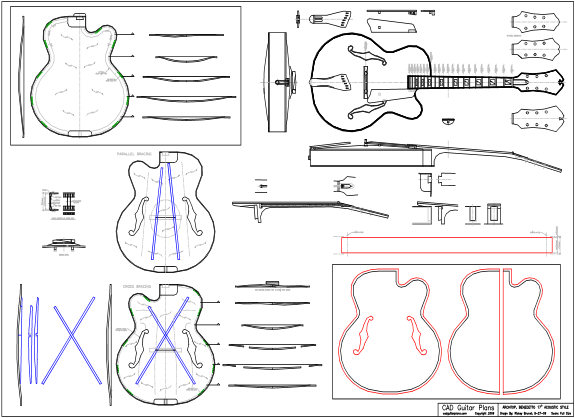 CAD Benedetto 17″ Archtop Guitar Plan Acoustic Style