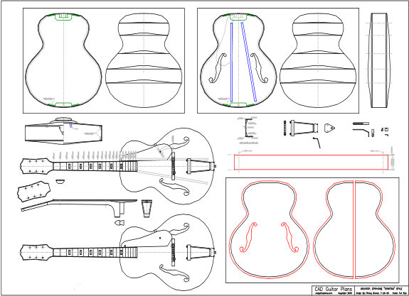 "CAD Epiphone ""Spartan"" Style Archtop Guitar Plan"