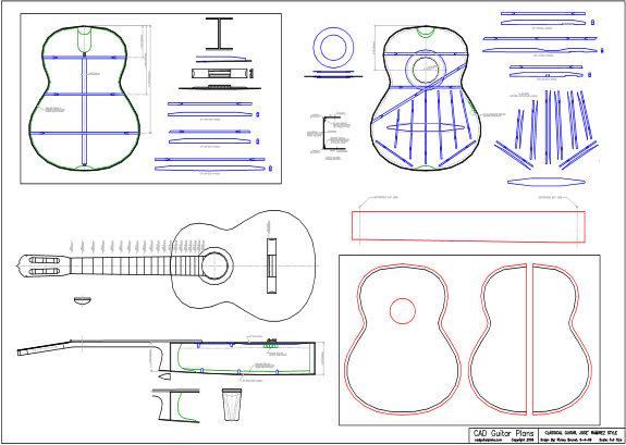 CAD Jose Ramirez Style Classical Guitar Plan