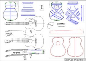 CAD 000 Martin 14 Fret Body Style Acoustic Guitar Plan