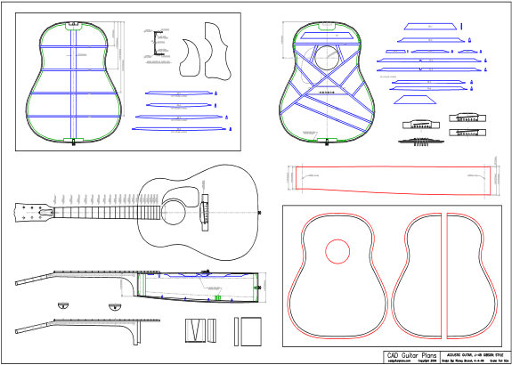 CAD J-45 Gibson Style Acoustic Guitar Plan
