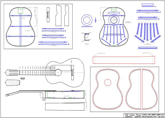 CAD Flamenco Type Classical Guitar Plan