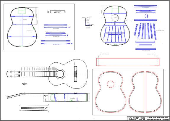 CAD Maseru Kohno Style Classical Guitar Plan