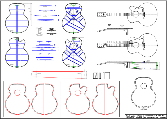 CAD J-185 Gibson Style Acoustic Guitar Plan