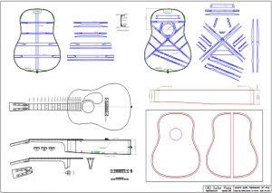 CAD Dreadnought 12 Fret Body Style Acoustic Guitar Plan