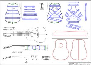 CAD Dreadnought 12 String Style Acoustic Guitar Plan