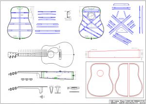 CAD Dreadnought 6 String Style Acoustic Guitar Plan