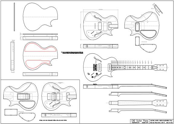 cad blueshawk electric guitar plan dwg dxf