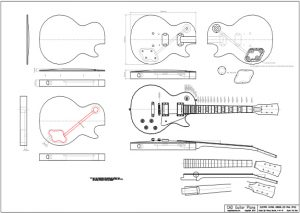 CAD Les Paul Electric Guitar Plan Gibson Style