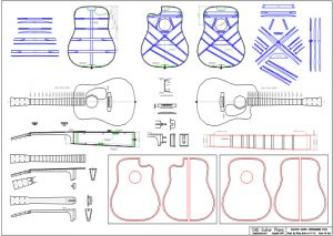 CAD Dreadnought D28 Acoustic Guitar Plan Herringbone Style