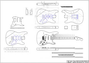 CAD Stratocaster Electric Guitar Plan Fender Style