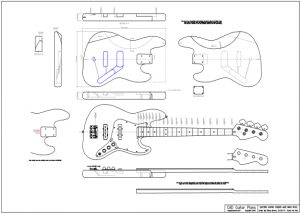 CAD Jazz Bass Electric Guitar Plan Fender Style