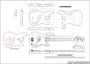 CAD Precision Bass Electric Guitar Plan Fender Style