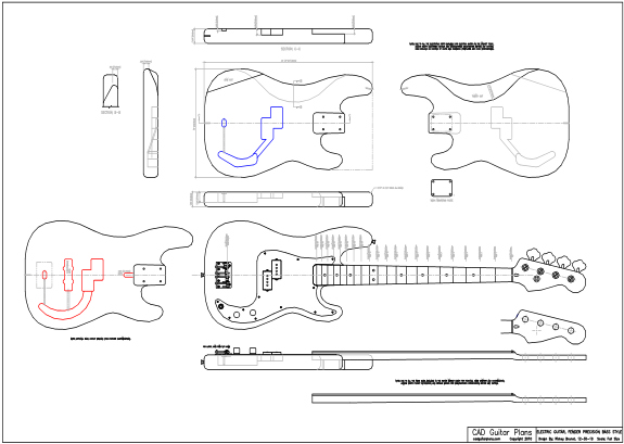 P bass guitar dimensions template pictures to pin on for Bass guitar body templates