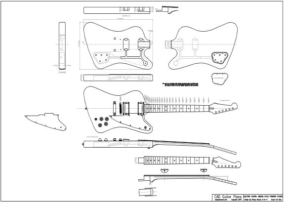 CAD Firebird Studio Electric Guitar Plan Gibson Style