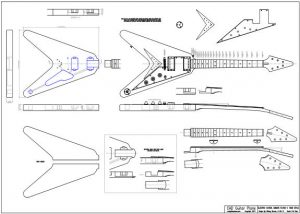 CAD Flying V Electric Guitar Plan Gibson Style