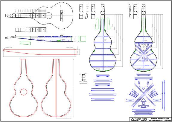 CAD Weissenborn Hawaiian Style Guitar Plan