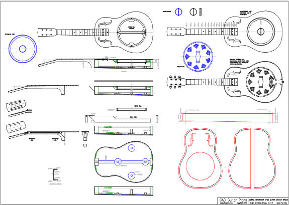 CAD Dobro Resonator Style Guitar Plan - Biscuit Bridge