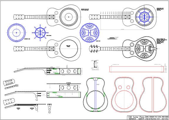 CAD Dobro Resonator Style Guitar Plan - Spider Bridge