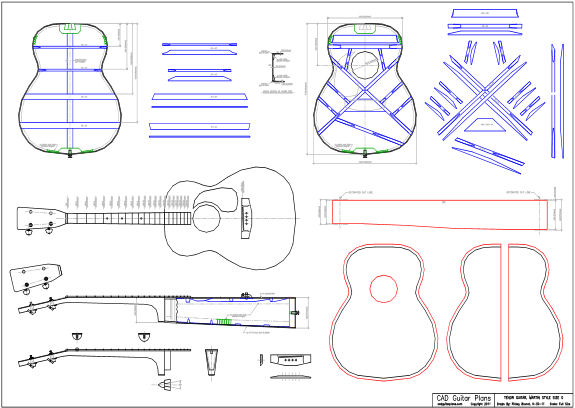 CAD Tenor Acoustic Guitar Plan Martin Style Size 0