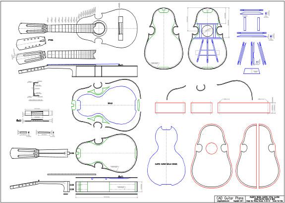CAD Puerto Rican Cuatro Style Guitar Plan - Multi