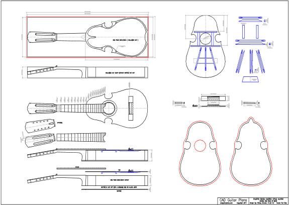 CAD Puerto Rican Cuatro Style Guitar Plan - Solid Body