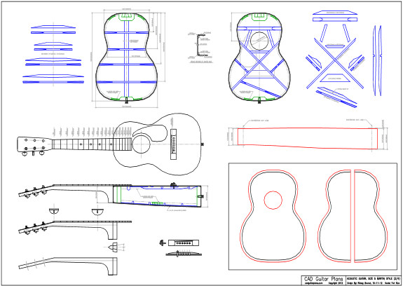 CAD Martin Size 5 (3/4) Style Acoustic Guitar Plan
