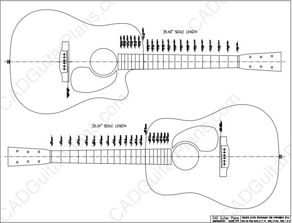 PDF Dreadnought D28 Acoustic Guitar Plan Herringbone Style