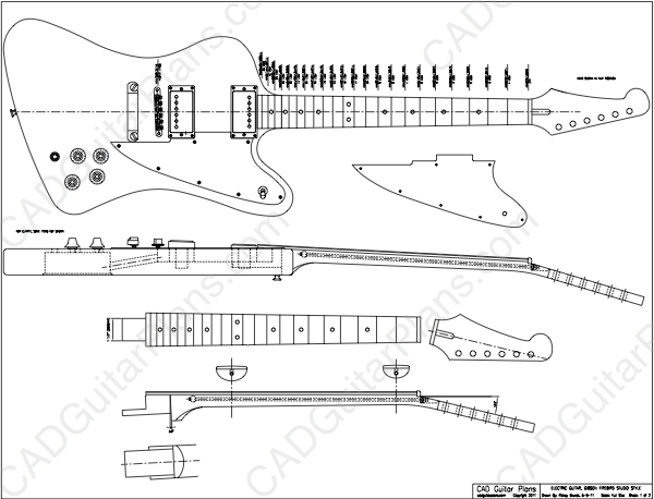 pdf firebird studio electric guitar plan gibson style cad guitar plans. Black Bedroom Furniture Sets. Home Design Ideas