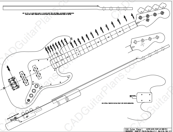 Pdf jazz bass electric guitar plan fender cad guitar plans for Bass guitar body templates
