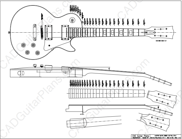 Pdf les paul electric guitar plan gibson style cad
