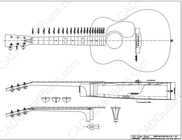 PDF 000 Martin 14 Fret Body Style Acoustic Guitar Plan