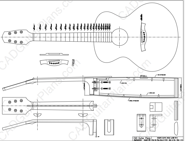 PDF Medium Jumbo Acoustic Guitar Plan