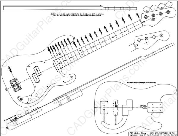 fender bass headstock template - pdf precision bass electric guitar plan fender cad
