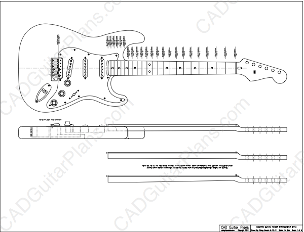 Pdf stratocaster electric guitar plan fender style cad for Electric guitar body templates