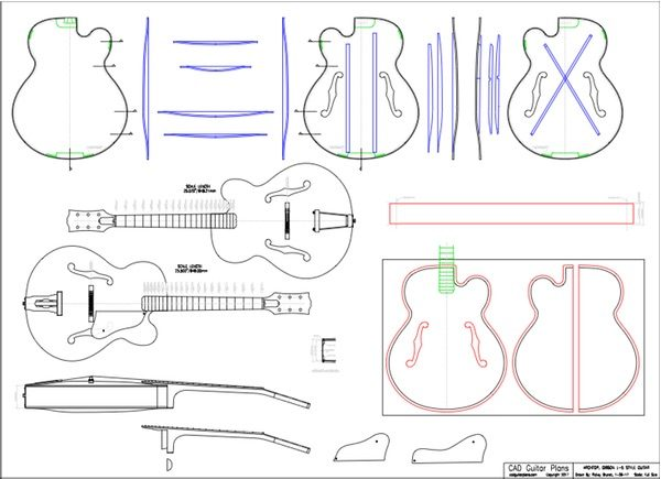 CAD Gibson L-5 Style Archtop Guitar Plan