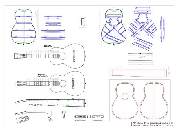 Size 0 Martin 12 Fret Body Style Acoustic CAD Guitar Plan